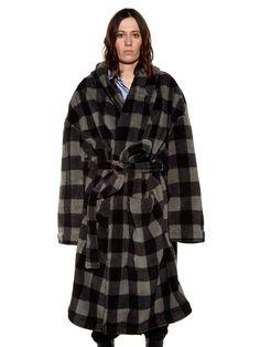 Checked hooded fleece robe coat | Vetements | MATCHESFASHION.COM UK
