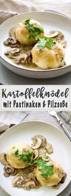 Ein einfaches und herzhaftes, vegetarisches Rezept für Kartoffelknödel mit Pastinaken und Pilzsoße. Einfache, Schnelle Rezepte aus frischen Zutaten, Elle Republic