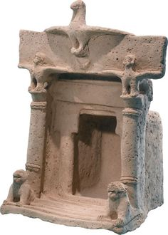 A dove and two bird-like female figures perch atop this Iron Age house shrine to symbolize Asherah and her counterparts Astarte and Tanit. Ardon Bar Hama