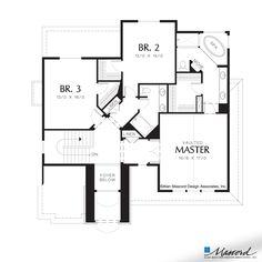 Upper Floor Plan of Mascord Plan 22152 - The Logan - European Plan with Upper Level Bedrooms