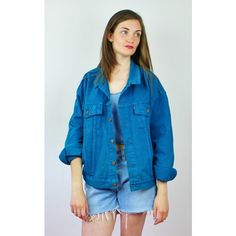 Re:dream Vintage Levis Teal Blue   Red Tab   Denim Loose Jacket ($50) ❤ liked on Polyvore featuring outerwear, jackets, blue, long sleeve jacket, long sleeve jean jacket, long sleeve denim jacket, loose jacket and jean jacket