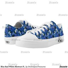 Blue And White Abstract Pattern Low-Top Sneakers.  Art by Smilin' Eyes Treasures on Zazzle.