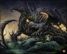 """This is the """"Undead Dragon"""" made by Carlos Herrera in 2006. This being design work for a project for a card game called 'BROOD'. I enjoy the artwork around the detail of the dragon itself. The acid coming out the mouth as a misty breath, glowing green eyes and the undead details making one have a bad feeling or chill based around the dragon."""
