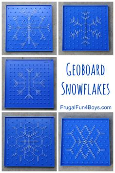 Geoboard Snowflakes STEM Activity for Kids Math meets art in this simple winter snowflake STEM activity for kids! We have been using geoboards and leftover Rainbow Loom bands to creat # Winter Activities For Kids, Math For Kids, Science Activities, Space Activities, Holiday Activities, Therapy Activities, Geo Board, Math Meeting, Rainbow Loom Bands
