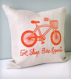 Eat Sleep Bike Pillow Cover | Gear & Gadgets Biking | Sweetnature Designs | Scoutmob Shoppe