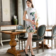 2017 New Summer Women Cheongsam Lady Chinese Style Vestido Female High Neck Bodycon Chi-pao Lover Home & Party Sexy Dress