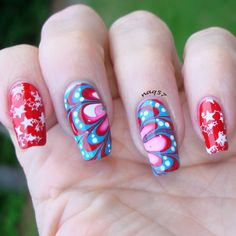 Red, White and Blue nail art design for Memorial Day