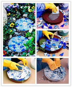 How to make diy mosaic garden stepping stones diy tag Mosaic Crafts, Mosaic Projects, Mosaic Art, Stone Mosaic, Mosaics, Mosaic Ideas, Pebble Mosaic, Garden Crafts, Garden Projects