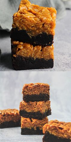Caramel Crunch Brownies - Caramel Crunch Brownies – Deliciously thick and fudgy brownies that are topped with a generous layer of caramel loaded with Cornflakes. The ultimate crunchy brownies! Brownies Caramel, Caramel Crunch, Fudgy Brownies, Chocolate Brownies, Baking Brownies, Toppings For Brownies, Chocolate Crunch, Blondie Brownies, Cookie Dough Cake