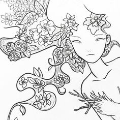 a #drawing I'm workin on for an #exibition in #italy  #wip #art #fantasy #portrait #sketch #ink #chinaink #floral