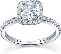 Pave Diamond Halo Engagement Ring for a Cushion Cut Center Stone SCS1086