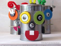 Magnetic tin can robots - like Mr. Potato Head! Use cans with lids so you can store all the pieces inside!