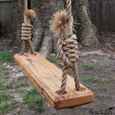 This tree swing is great for outside hanging from an old, massive tree or for free spirited folk who might even hang it inside. Made of reclaimed old growth pine that was once a floor joist for a 19th