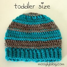 Sweet Striped Crochet Hats  - sizes for babies, toddlers, and young children! Perfect hat for girls and boys, free pattern on mooglyblog.com