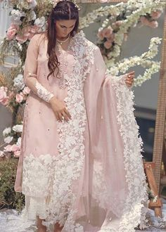 This pure organza shirt has an intricately handworked neckline and embroidered borders on shirt and sleeves. It is further embellished with sheesha spray and can be paired with the beautiful complimenting ourhnee Beautiful Pakistani Dresses, Pakistani Dresses Casual, Pakistani Bridal Dresses, Pakistani Dress Design, Pakistani Clothing, Pakistani Designer Suits, Stylish Dresses For Girls, Stylish Dress Designs, Designs For Dresses