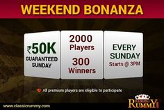 Its FANTASTIC FRIDAY OFFER for you!We are Mad about You all. 50k Guaranteed this SUNDAY! 300 Winners , starts @ 3pm. Hurry!!! Grab the offer before it expires>> https://www.classicrummy.com/weekly-freeroll-tournaments?link_name=CR-12