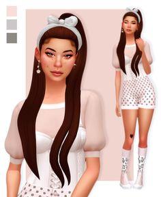 "🌼 hair - earrings - eyeshadow - headband - lipgloss - top - shorts - socks - shoes - tattoo ""cc credits : "" [ figured I'd wait to the hair. Sims 4 Cc Packs, Sims 4 Mm Cc, Sims Four, Sims 4 Mods Clothes, Sims 4 Clothing, Maxis, Sims 4 Tattoos, The Sims 4 Cabelos, Pelo Sims"