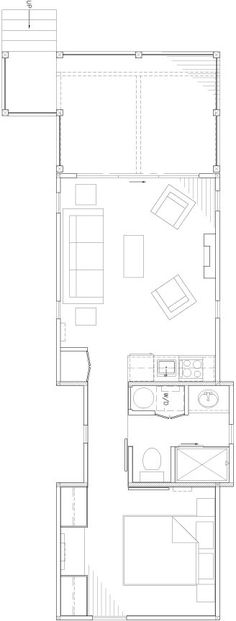 """The Wedge, a 400 sq ft (37 m2) """"rustic modern"""" cabin by WheelHaus"""