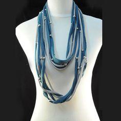 Six Strands Handmade Jewel Beads Blue Snood Necklace Scarf, NL-1492F