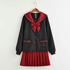 2019 autumn winter Japanese preppy style suit black long sleeve crew neck single breasted tops and red sweet mini pleated skirts School Uniform Dress, Japanese School Uniform Girl, Japanese Uniform, Preppy Mode, Preppy Style, Japanese Fashion, Korean Fashion, Looks Kawaii, Girls Uniforms