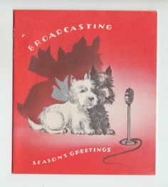 Vintage Scottie Dogs With Microphone Season's Greetings New Year Greeting Card