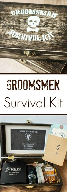 Groomsmen Boxes Rustic wooden DIY Groomsmen boxes: Groomsmen Survival Kits stuffed with everything your groomsmen will need on the day of and day after your wedding Groomsmen Gift Box, Groomsmen Proposal, Wedding Gifts For Groomsmen, Bridesmaids And Groomsmen, Gifts For Wedding Party, Groomsman Gifts, Party Gifts, Bridesmaid Gifts, Diy Wedding