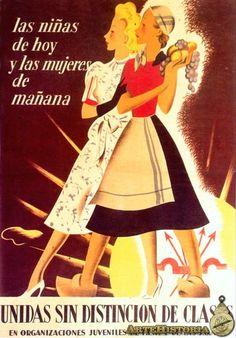 Las Niñas de hoy y las mujeres de mañana unidas sin distinción de clases en organizaciones juveniles de FET y de las JONS.