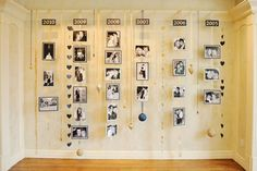 Ribbon timeline wall to showcase the love story - Our Most Ambitious Bride EVER! (Photgraphy by Rebekah Westover) - via greylikeweddings