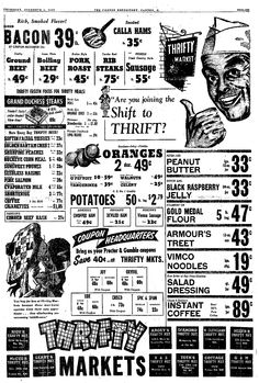 Vintage Thrifty Market Ad, Vimco Noodles, Repository, Canton, OH, December 4, 1952, pg 51, Viviano Macaroni Co, Carnegie, PA Roast Steak, Canton Ohio, Ohio Usa, Store Ads, December 4, Pork Ribs, Do You Remember, Macaroni, Noodles