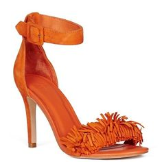 Joie Pippi Heels (1035 QAR) ❤ liked on Polyvore featuring shoes, sandals, tangerine, joie, high heel ankle strap shoes, fringe high heel sandals, ankle strap sandals and fringe shoes