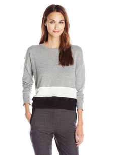 Kensie Women's Soft Cotton Blend Sweater, Heather Grey Combo, Medium