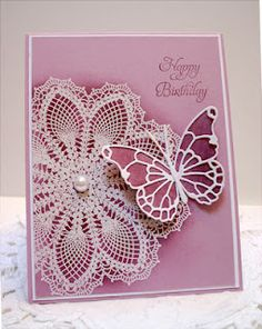 Memory box butterfly on SU doily background stamp