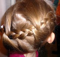 Claire's Hair: Side swept braid with add in.