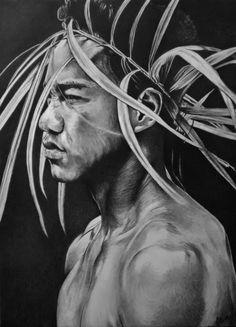 Portrait dessin d'un jeune tahitien Maori à la couronne Photos, Portraits, Culture, Illustrations, Statue, Fictional Characters, Maori, Pencil Drawings, Wine