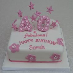 Girly Pink 40th Birthday Cake from www.cakesbykit.co.uk