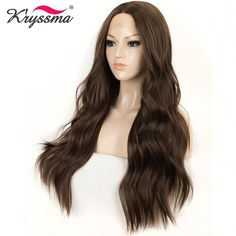 Cheap Synthetic Lace Wigs, Buy Directly from China Suppliers:Long Wavy Wig Dark Synthetic Lace Front Wig Brown Wigs for Women 22 inches Middle Parting Hair Glueless Heat Resistant Fiber Synthetic Lace Front Wigs, Synthetic Wigs, Eliza Hamilton Costume, Parting Hair, Long Hair Wigs, Hair Blog, Wig Hairstyles, Long Hair Styles, Beauty