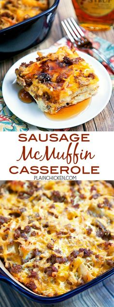 Sausage McMuffin Casserole - Chopped English muffins, sausage, cheese, eggs and milk. Can make a day ahead of time and bake for breakfast, lunch or dinner. All the flavors of a Sausage McMuffin from Mc Donald's in a yummy breakfast casserole. Serve with maple syrup!