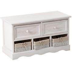 Pojemna ławko-skrzynia Palida Aluro, z dwiema głębokimi szufladami, a także trzema półkami wypełnionymi plecionymi koszyczkami. Sposób wykonania tej pięknej komody ukazuje typowo prowansalski styl.