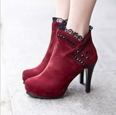 Beautiful Red High Heel Boots With Lace Detail