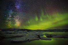 Milky Way and Aurora over Jökulsárlón glacial lagoon ... by Iurie  Belegurschi, via 500px
