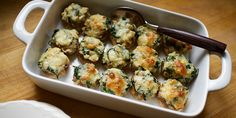 Spinach and Cheese Stuffed Mushrooms - 21 Day Fix - 1/2 green, 1/2 blue per serving
