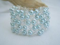 Pale blue & silver beaded knitted bracelet by WisteriaCottageCraft, £11.50