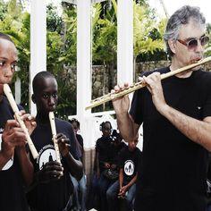 Andrea Bocelli playing with the  Nuestros Pequeños Hermanos  #abf #nph #flute