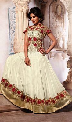 Chitrangada Singh Off White Embroidered Georgette Anarkali Suit Price: Usa Dollar $163, British UK Pound £96, Euro120, Canada CA$175 , Indian Rs8802.