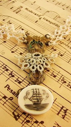 My Lover is Away on the Sea Tatting and Scrimshaw Necklace