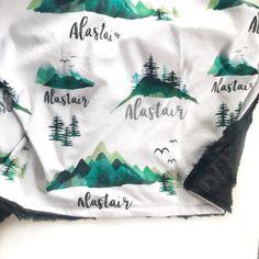 Personalized minky blanket, baby blanket gift. Mountains personalized blanket. Popular Baby Names, Unique Baby Names, Neutral Baby Blankets, Baby Presents, Personalised Blankets, Baby Must Haves, Minky Blanket, Gender Neutral Baby, Tummy Time