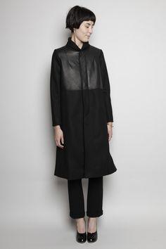 Totokaelo - Rachel Comey - Ardmore Coat - Black, leather and wool minimalist coat #minimalist #fashion
