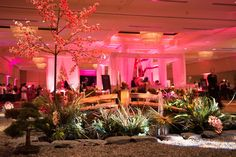 Chicka Chicka Boom Boom and Amaryllis created a mini Japanese garden inside the ballroom complete with a pond, wooden bridge, live plants, and a cherry-blossom tree.