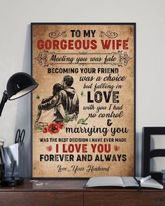 Perfect Gifts To My Husband Poster Great Gifts For Wife, Love Gifts, Gifts For Family, Gifts For Women, Love Quotes For Wife, Wife Quotes, Romantic Cards, Romantic Gifts, Families Are Forever