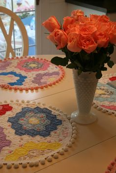 Vintage Quilt made into Placemats - cute idea to rescue a tattered quilt and make it useable again!